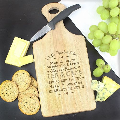 Personalised We Go Together Paddle Chopping Board